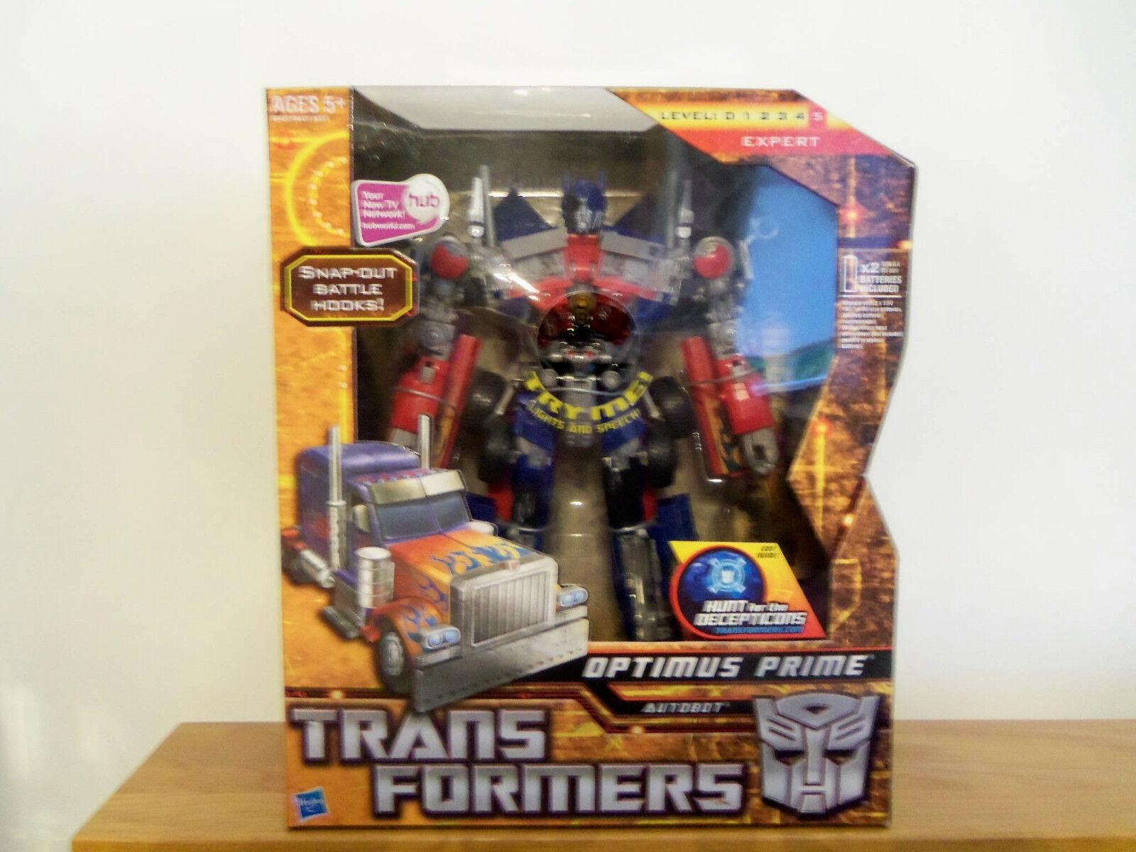 Die transformatoren, die jagd auf die decepticons.anführer optimus prime kampf haken.