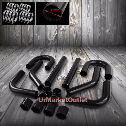 """2.5/"""" Black Universal 8PCS Turbo Front Intercooler Pipe Silicone Hose T-Clamp Set"""