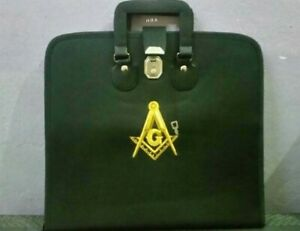 Details about HAND EMBROIDED CUSTOM MASONIC BLACK M M  APRON CASE GOLD