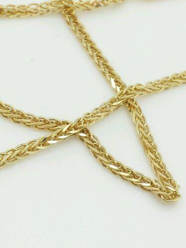 "14k Yellow Gold High Polish Square Box Wheat Necklace Pendant Chain 20/"" 1.8mm"