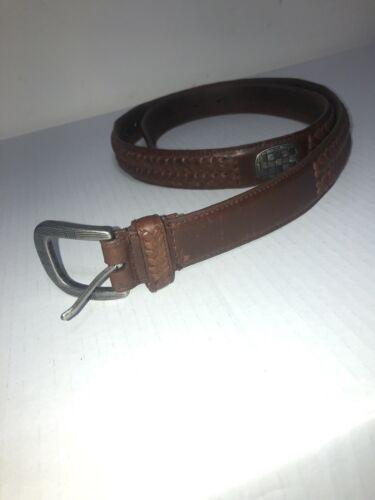 Vintage WOOLRICH Brown Leather Belt Sz 42 / 105 c… - image 1
