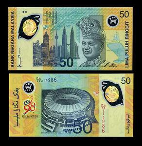 MALAYSIA-50-RINGGIT-1998-POLYMER-P-45-COMM-UNC