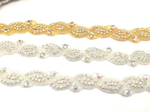 Beautiful 1 Yard Bridal Rhinestone Belt Bridal lace for Wedding Dresses Trim