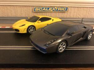 Scalextric Lamborghini Gallardo & Ferrari F430 Rotation / dérive à 360 degrés Excellente
