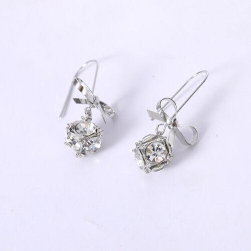 New Fashion Bow Noeud Cristal Boucles D/'Oreilles Strass Clous d/'oreilles pour les femmes Bijoux