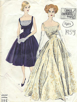 1959 Vintage VOGUE Sewing Pattern B32 DRESS (1405)