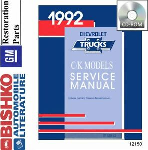 OEM Shop Manual CD Chevy Truck Pickup C/K w/ Wiring Diagrams 1992