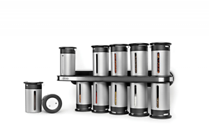 Kitchen Spice Saving Rack Zero Gravity Magnetic Top Bottom Holder 12 Canisters