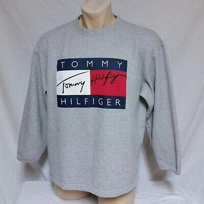 VTG 90s Tommy Hilfiger Sweatshirt Flag Spell Out Signature Jeans Sport Lotus XL | eBay
