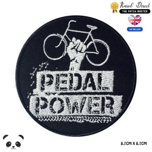 Pedal-Power-Embroidered-Iron-On-Sew-On-Patch-Badge-For-Clothes-Bags-Shoes-etc