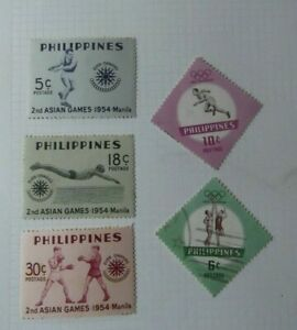 Q14-Lote-de-5-sellos-Asian-Games-1954-Fhilippines-sin-usar-1-stamped