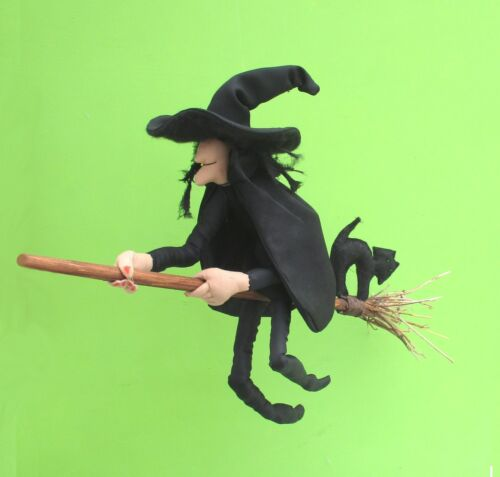 Witch cloth doll sewing pattern Mistress Cackle complete with broom and cat