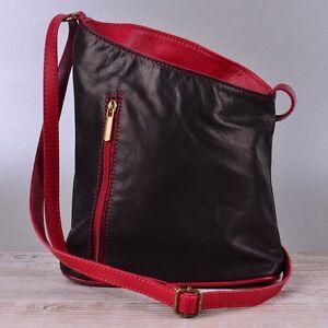 Tasche Handtasche Echt Leder Schultertasche Umhängetasche Ledertasche Schwarz T6