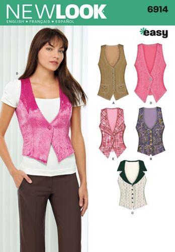 NewLook-6914 New Look Ladies Easy Sewing Pattern 6914 Waistcoats