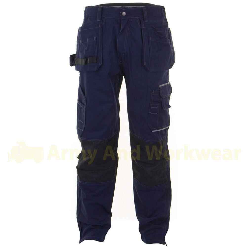 Click Shawbury Twill Contrast Stitched Tuff Work Trouser Combat Free Knee Pads