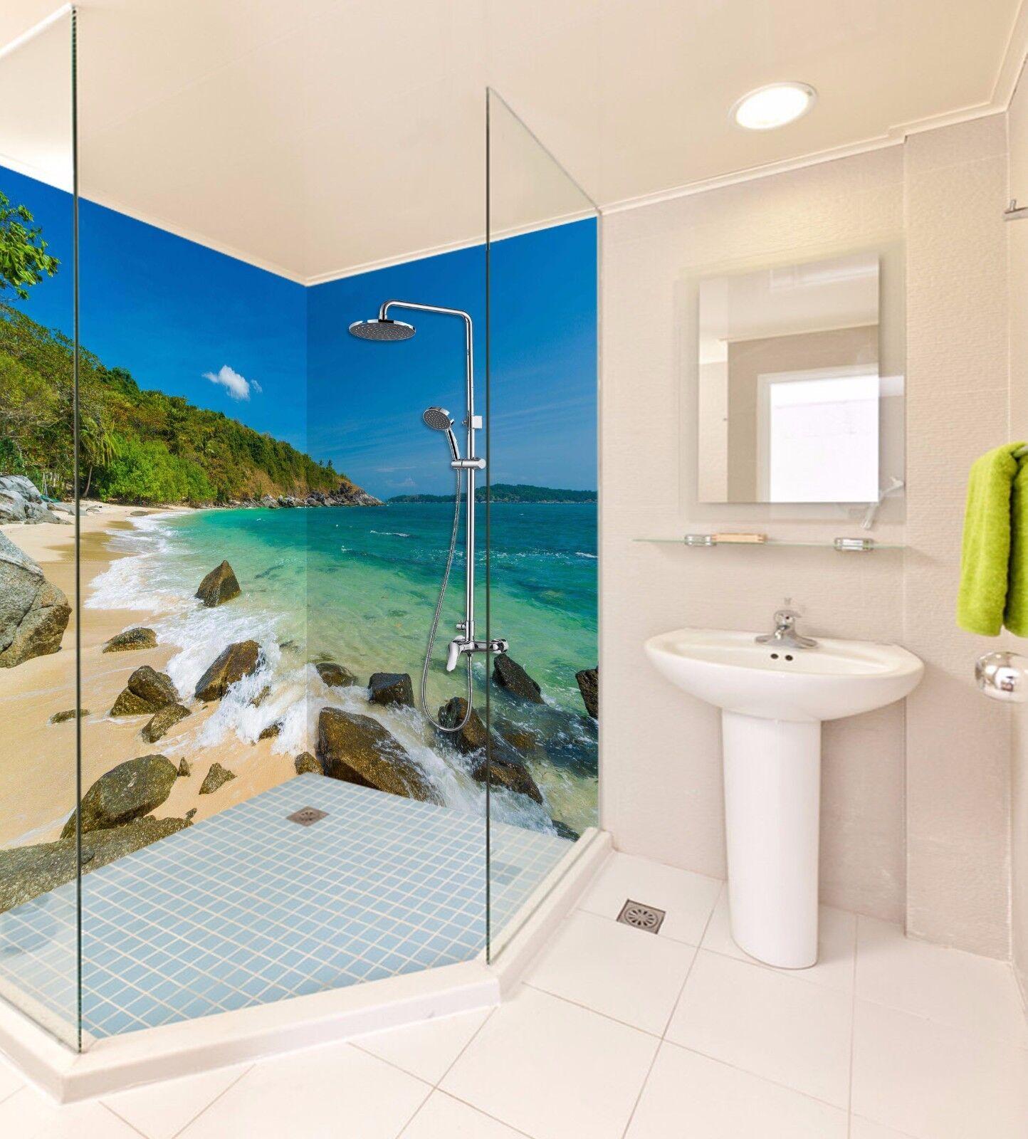 3D Ocean Sky Beach WallPaper Bathroom Print Decal Wall Deco AJ WALLPAPER UK