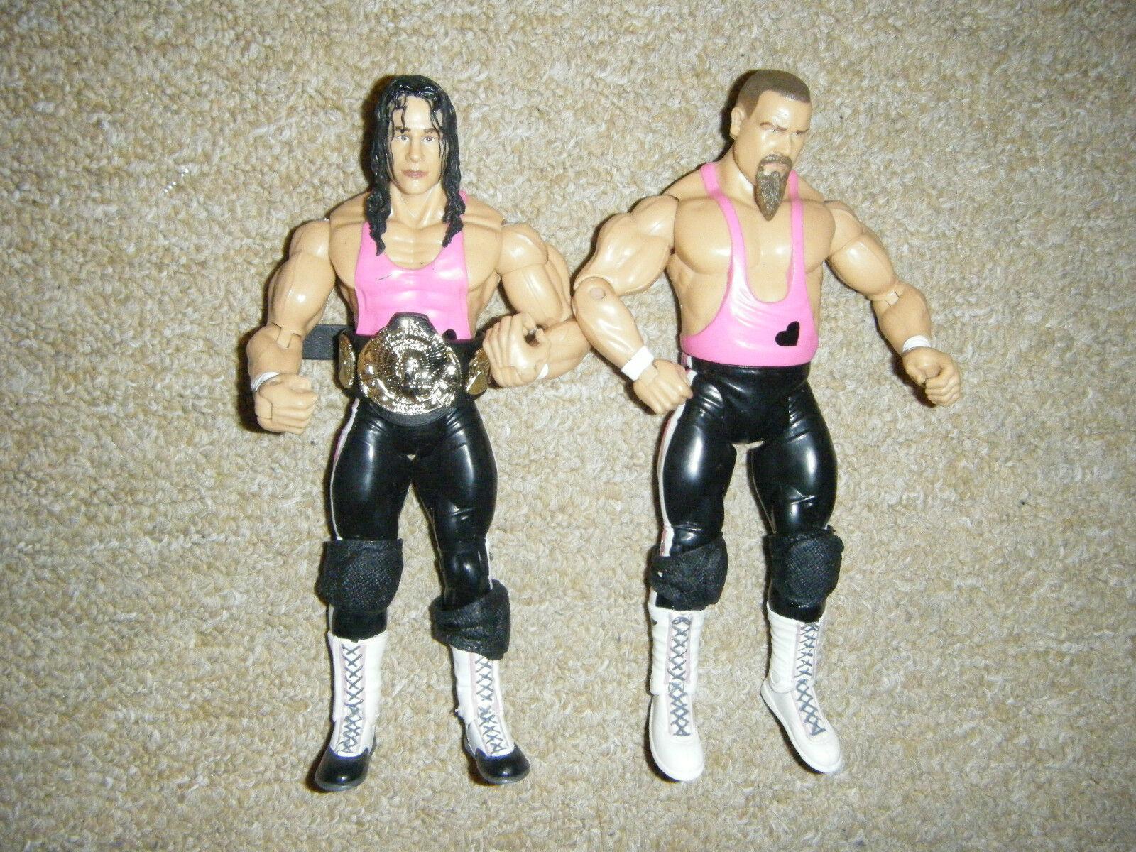 BRET THE HITMAN BELT HART JIM THE ANVIL NEIDHART & BELT HITMAN TAG WRESTLING FIGURE WWE WCW 701eb3