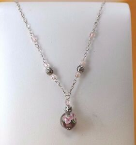 Pretty-17-034-Sterling-Silver-Pink-Flower-Bead-Pendant-Necklace-7-6g