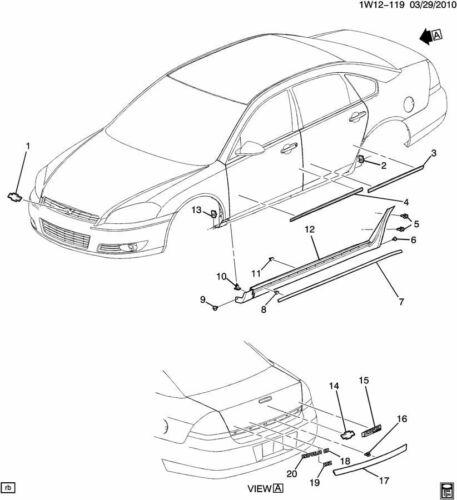 2006-2014 Chevy Impala Rear Trunk Trim Applique Black New OEM 19179925 19177502