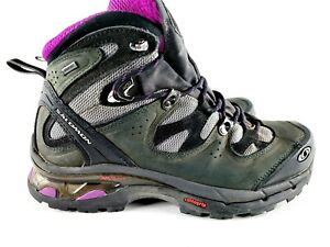 Salomon Hiking Boots Comet 3D GTX Gore-Tex Black Grey Purple Womens Size 9.5