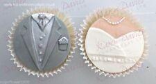 Karen Davies CUP CAKE TOP Sugarcraft Stampo Sposa e Sposo Set Next Day Spedizione