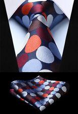"Men Green Polka Dot 3.4/"" Silk Tie Party Wedding Handkerchief Set New#TD706G8S"
