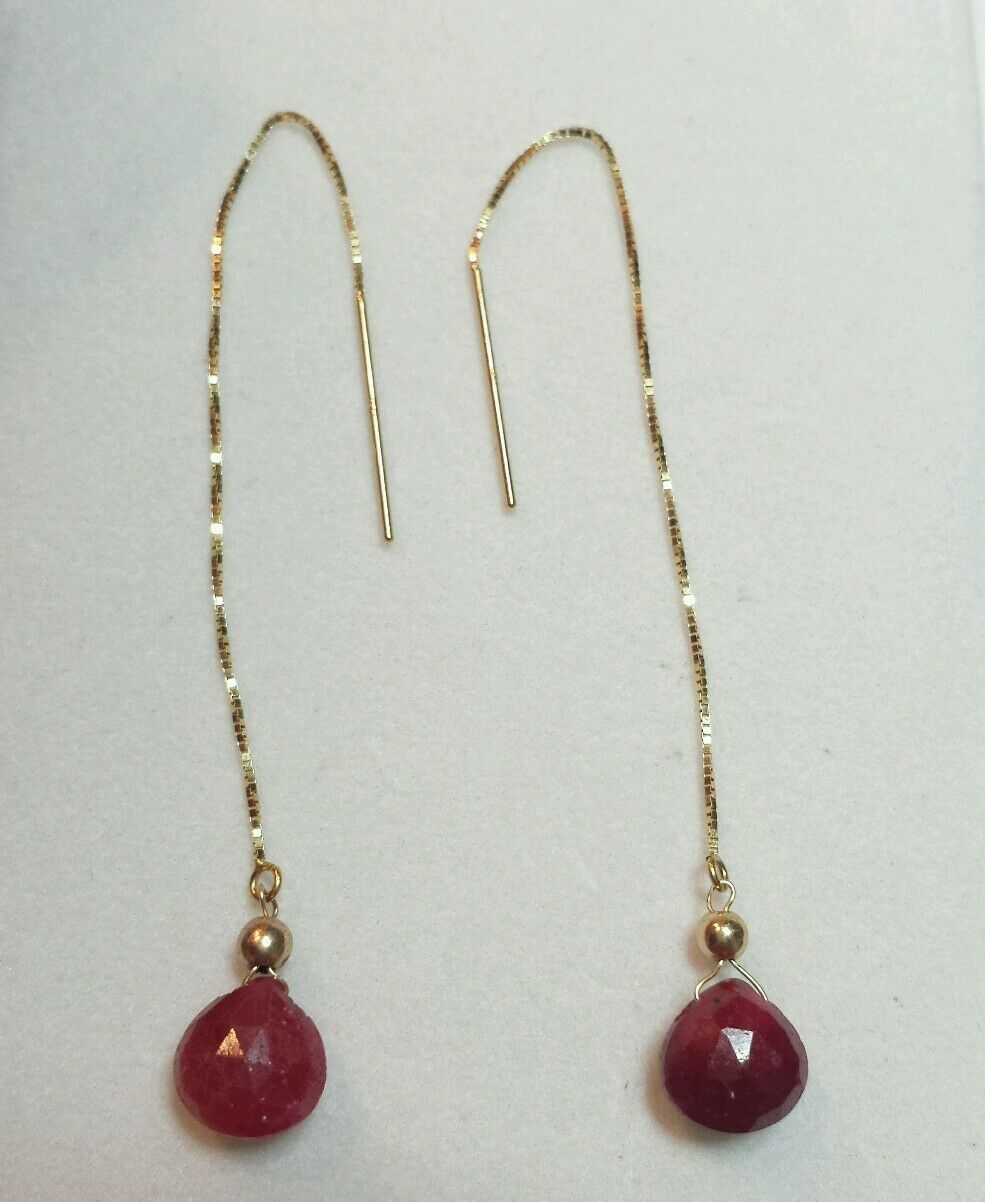 14K stamped gold 6ct Ruby heart briolette Gemstone threader Dangle Earrings
