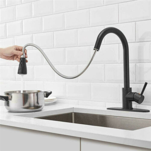 Black Kitchen Faucet W// Pull Out Sprayer Deck Mount Single Handle Sink Mixer Tap