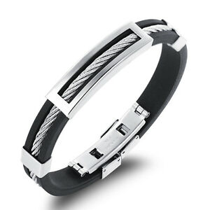 Image Is Loading Men Wire Bracelet Stainless Steel Silicone Bracelets Cool