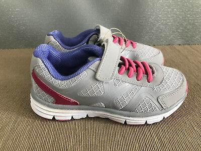 BNWT Girls Sz 11 Rivers Doghouse Grey purple pink Tab Athletic Jogger Shoes