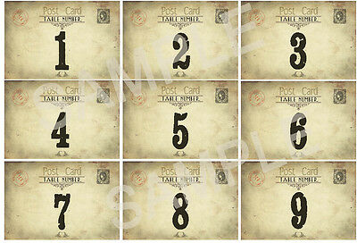 VINTAGE WEDDING TABLE NUMBERS - SHABBY CHIC -2 Sizes available (DOUBLE SIDED)