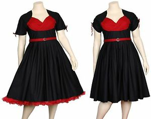 Roses-Are-Red-Rockabilly-50s-Black-Pleated-Tea-Dress-Vintage-Pinup-Psychobilly