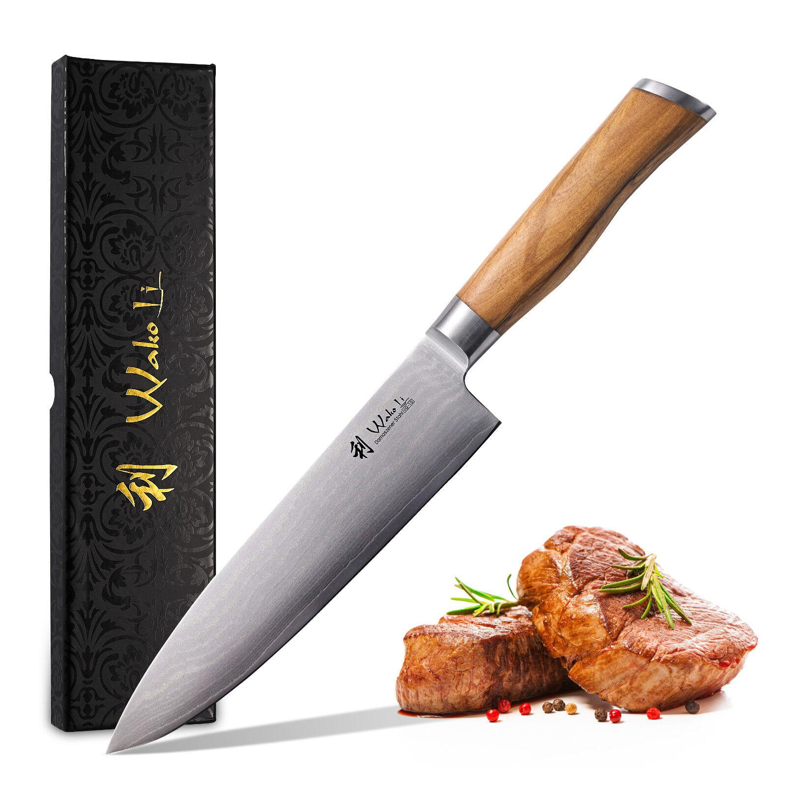 Wakoli olives damassé couteau de cuisine damassé couteau, WAKOLI olives Chefmesser (Nouveau)
