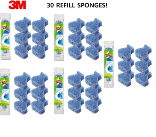 Scotch Brite Disposable Toilet Bowl Cleaner Scrubber Brush 30 Refills SEALED 3M
