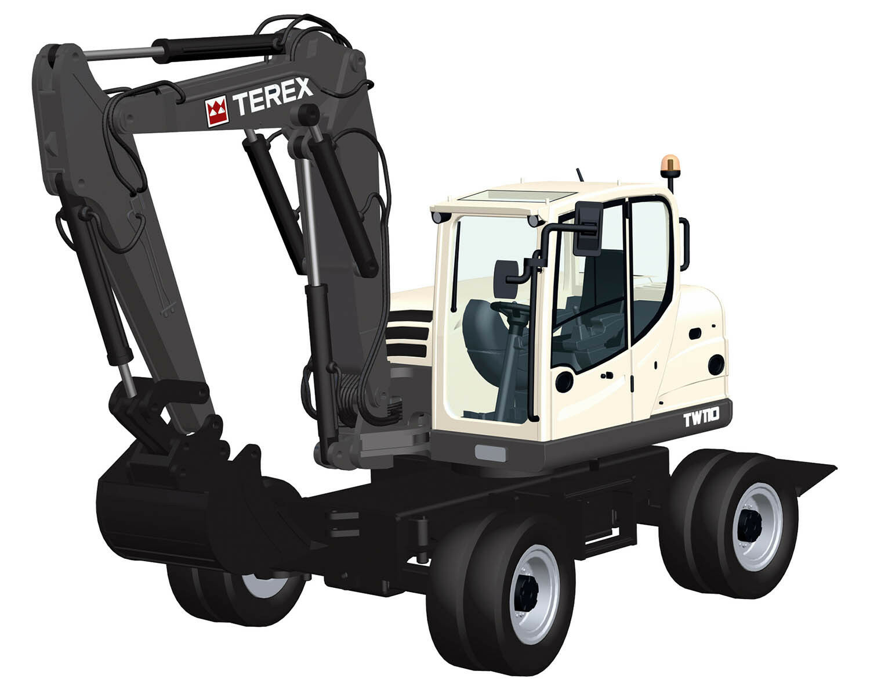 NZG 901 Terex TW110 Mobile Excavator 1 50 Die-cast MIB