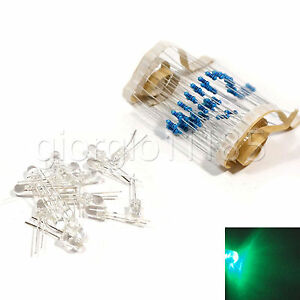 US-Stock-100pc-LED-3mm-Green-Water-Clear-Ultra-Bright-With-Free-12V-DC-Resistors
