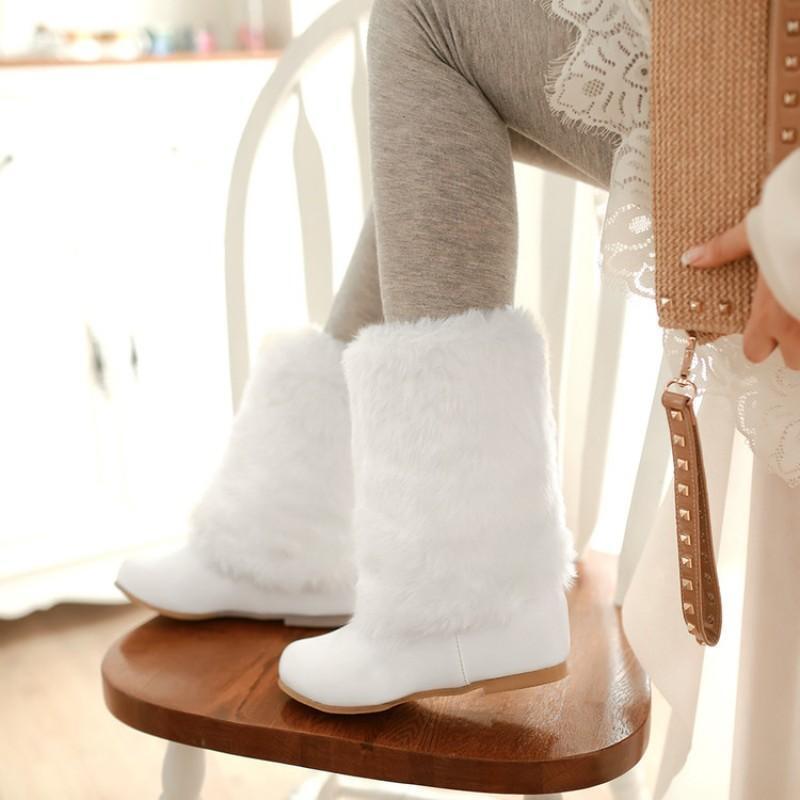 Womens Cute Furry Warm Snow Winter Boots Faux Fur Fur Fur Hidden Heels Mid Calf Boots Sz 61bacd