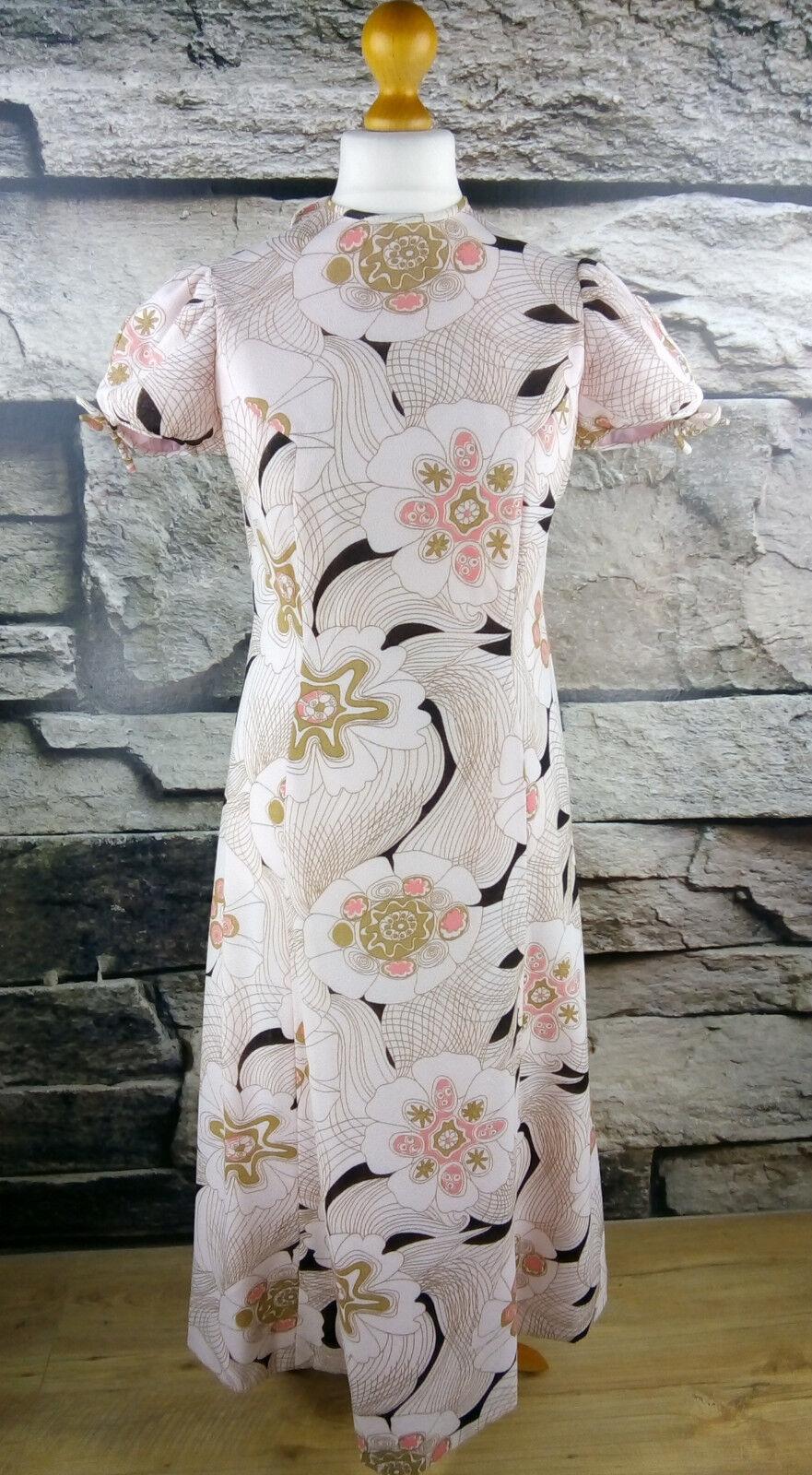 True Vintage Gr. M Maxi Kleid bluemen pink Sommer Hippie Dress flower power
