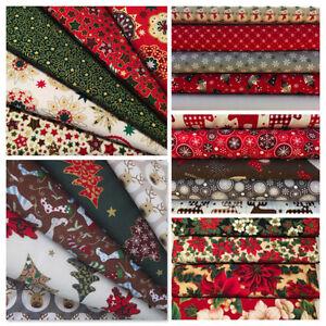 Christmas-Fat-Quarters-Craft-Bundles-Cotton-Fabric-Festive-Scandi-Fox-Stag-Red