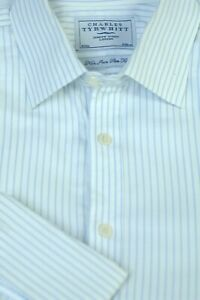 Charles-Tyrwhitt-Men-039-s-White-Light-Blue-Stripe-Cotton-Dress-Shirt-16-x-34