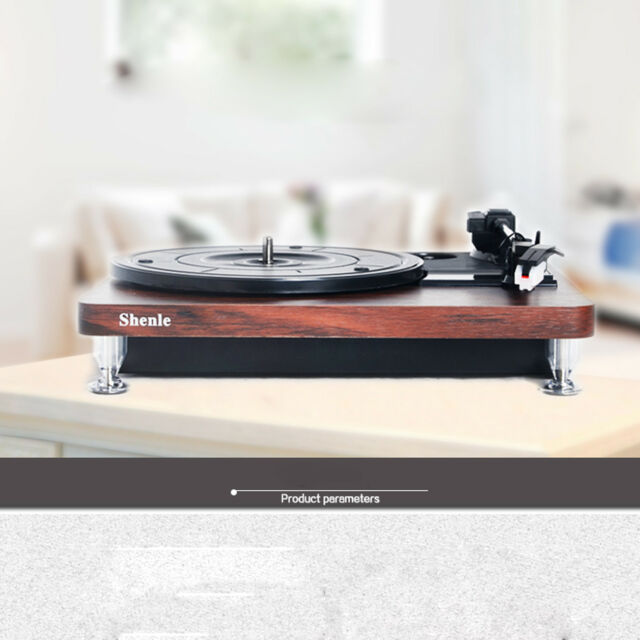 DC 5V USB Turntable Vinyl/AUX,RCA functions/Wooden Record Player Speaker