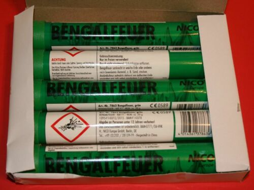 1 OVP = 5 Stück Kat.F1 Grün Bengalos Nico Feuerwerk Bengalfeuer