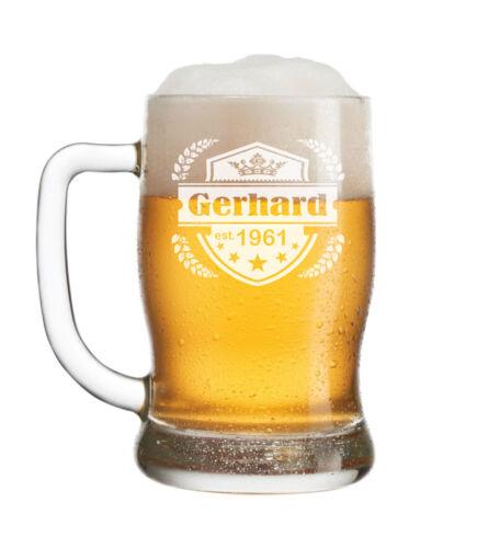 "Leonardo Bierkrug mit Gravur /""Emblem II/"" Bier Krug Glas graviert"