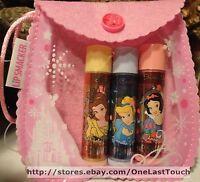 Smackers Sweet Shimmers Lip 4pc Gift Set Disney Princess 3 Balms +bag Princesses