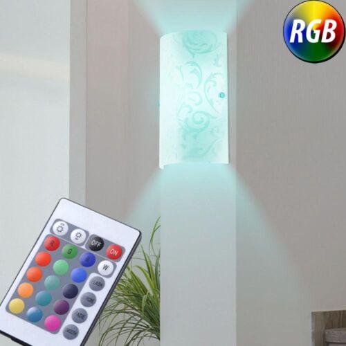 LED Design Wand Strahler Wohnzimmer RGB Dimmer Fernbedienung Glas Lampe bedruckt
