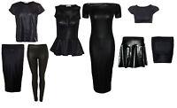 Ladies Girls New Wet Look PVC Dress T shirt Crop Top Leggings Mini Midi Skirts