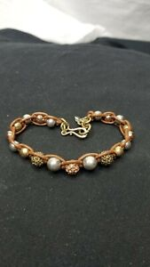 Lucky-brand-Bracelet-leather-lace-style-Silver-gold-tone-metal-beads