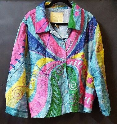 Shirt Size 2X  Lined  Blue Multi Color Batik Embroidered Abstract  100% Silk