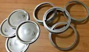 200-x-Kerr-CANNING-JAR-Lid-amp-Ring-Set-WIDE-MOUTH-MASON-Ball-JARS-New-SILVER