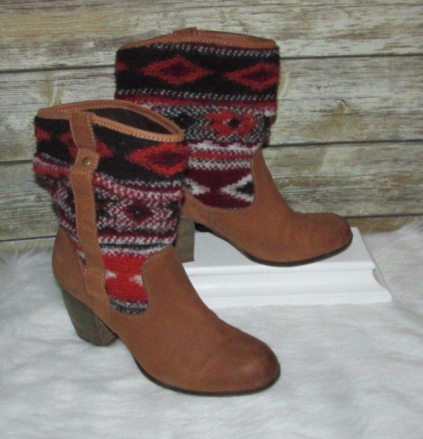 Steve Madden Tolteca Brown Leather Sz 9.5M Western Southwest Boho Ankle Boots